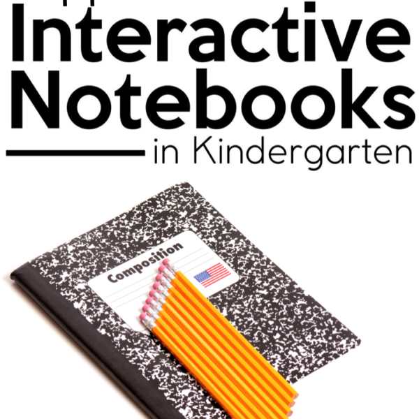 "This is a title graphic for a blog post that says, ""Supplies for Interactive Notebooks in Kindergarten."""
